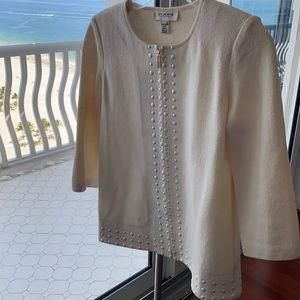 St. John white cream 3/4 sleeve jacket size 2